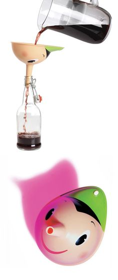 Pino Funnel by  Stefano Giovannoni & Miriam Mirri for Alessi // long nose like Pinocchio... playful design #productdesign