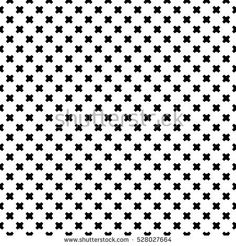 Vector monochrome seamless pattern, geometric minimalist texture, black crosses on white backdrop. Modern abstract endless simple background. Design element for prints, decor, digital, web, package
