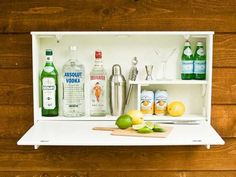 No room for a bar? The $399 Loll Wallbanger is a mini-bar with a fold-down door that doubles as a countertop when in use. It has room for bottles, glasses, and even a martini shaker.