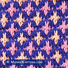 Mosaic Knitting - How to knit the NORTH STAR stitch. Free pattern includes written instructions and PDF file Beginner Knitting Patterns, Fair Isle Knitting Patterns, Knitting Charts, Knitting Stitches, Knitting Projects, Mosaic Knitting, Slip Stitch Knitting, Knitting For Charity, Mosaic Patterns