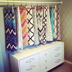 Getting Organized The Craftinomicon: Funky Fabric Storage Ideas As previously mentioned, there are a Sewing Room Storage, Craft Room Storage, Sewing Rooms, Fabric Storage, Room Organization, Craft Rooms, Fabric Display, Hanging Fabric, Kitchen Storage