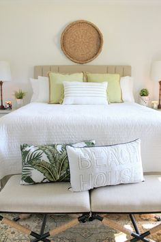 Black, White & Glam : Laid Back Tropical Vibes | House Full of Summer - green throw pillows, natural textures, Florida guest room, neutral guest room decor, vintage rug, tassel pillows, beach house lumbar pillow, under $20, gold leaf decorative accents, tropical decor, coastal bedroom design, candle holder, woven striped baskets, Christmas Tree Shops andThat! Jacksonville, FL #parternship #EverySeasonEveryReason #andthat Tropical Vibes, Tropical Decor, Coastal Decor, Guest Room Decor, Home Decor Bedroom, Bedroom Ideas, Bedroom Color Combination, Green Throw Pillows, Pinterest Home