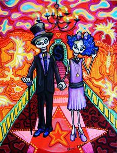 Day of the Dead Art | Calavera Wedding - Day of the Dead Art Print - Sugar Skull mexican ...