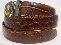 Only 1 left in stock - Genuine Papua New Guinea Crocodile Skin Leather Men's Belt Auto Buckle Handmade