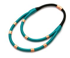 Opal green statement rope necklace with copper tubes by BeataTe