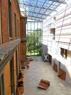Statens Museum for Kunst (National Gallery, Denmark), Copenhagen. Architecture Renovation, Industrial Architecture, Architecture Old, Canopy Glass, Patio Interior, Adaptive Reuse, Modern Buildings, Atrium, Cladding