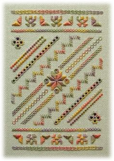 Pretty pattern done in autumn colors, hardanger and other stitches
