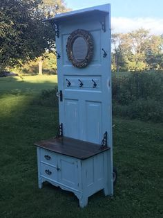 My husband and I use a variety of architectural salvage pieces to create one of a kind pieces of furniture. This listing is for a custom hall tree, made using an antique door, mirror, hardware, and bench or dresser of some sort. The hall tree will be Diy Furniture Hacks, Old Furniture, Refurbished Furniture, Repurposed Furniture, Furniture Projects, Furniture Makeover, Painted Furniture, Rustic Furniture, Repurposed Doors