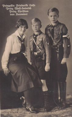 Prinzessin Luise Friederike (in the BDM), Prinz Welf-Heinrich (in the Deutches Jungvolk), and Prinz Christian (in the Hitler Youth), of the House of Hanover (ca. 1936). They were three grandchildren of Kaiser Wilhelm II.