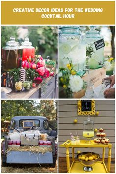 Wedding Cocktail Hour Decor - Inspired by This drink station Creative Decor Ideas for the Wedding Cocktail Hour