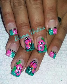 Uñas linda Colorful Nail Designs, Short Nail Designs, Nail Art Designs, Wow Nails, Cute Nails, Pretty Nails, Rodeo Nails, Butterfly Nail Art, Finger Nail Art