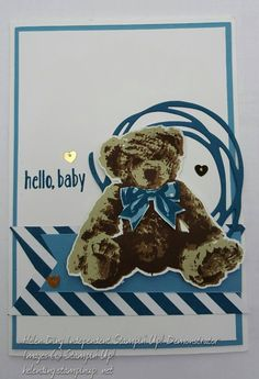 Stampin' Up! independent demonstrator Helen Ding: Baby Bear boy card using Swirly Scribbles dies & 2016 - 2018 In Color DSP Stack.