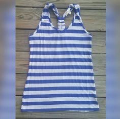 ☀️2 HR TANK TOP SALE! Nautical Blue & White Stripe Adorable racer back tank top with blue & white nautical stripes. New without tags. Kenar Tops Tank Tops
