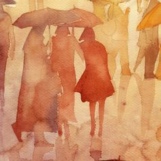 Watercolor Sketch, Watercolor Portraits, Watercolor Illustration, Watercolour Painting, Painting & Drawing, Watercolours, Rain Art, People Art, Figure Painting