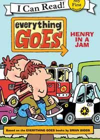 Everything Goes Henry in a Jam (My 1st I Can Read) By Brian Biggs Author, Illustrator Simon Abbott  Beep, beep! Honk, honk! Henry is stuck in traffic. But luckily, the emergency vehicles are on their way to help out—and Henry is ready for the action! It's a perfect day for building a snowman and going ice-skating.   Skating uses simple, easy-to-read text & bold illustrations. Read 4–8 yrs. 32 pages. Figure Skating Competition, Books for Beginner Figure Skaters, SkatersChoiceColorado.com