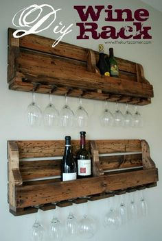 1. Beautiful rustic wine rack DIY with tutorial! Pin now make later! I'd like to see this happen as a magazine or book rack, too. Or I would even keep flavored syrups in it with hooks instead of holes for coffee cups.