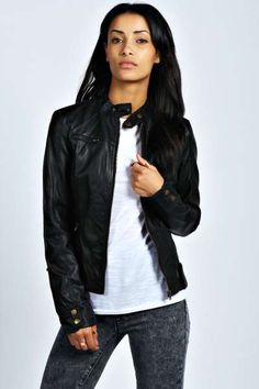 Persia Faux Leather Biker Jacket at boohoo.com