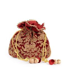 Gold embroidery Vintage Purses, Vintage Bags, Potli Bags, Ethnic Bag, Sweet Bags, Handmade Purses, Burgundy And Gold, Gold Embroidery, Beaded Bags