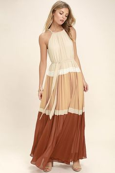 Lulus Exclusive! It's nothing but smooth sailing in the Totally Tranquil Beige Color Block Maxi Dress! Pleated woven poly, with a beige, white, peach, and rust orange color block pattern, shapes a drawstring, halter neckline with back keyhole. Tying sash cinches the waist above a cascading, maxi skirt.