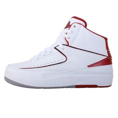 buy popular d48f5 b9715 Nike Air Jordan 2 Retro II OG White Red AJ2 Mens Basketball Shoes Sneakers  3 4 5