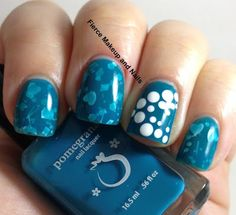 Blue Nails with White Overlays and Underlays
