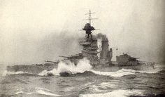 13.5 in flagship of the Grand Fleet HMS Iron Duke in rough North Sea weather, 1915.