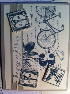 This card by Margi Sank makes us want to pack our bags and go on a grand trip! We love the monochromatic blues. Handmade Greetings, Greeting Cards Handmade, Bicycle Cards, Paper Crafts, Card Crafts, Stamping Up, Cute Cards, Vintage Cards, Scrapbook Cards