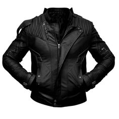 Star Lord Guardians Of Galaxy Halloween Movie Costume Black Leather Jacket Mens - XL / Sheepskin Leather