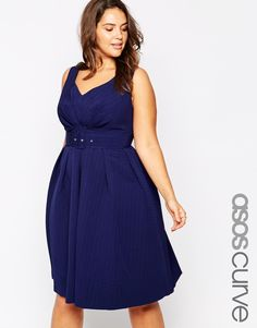ASOS+CURVE+50's+Belted+Prom+Dress