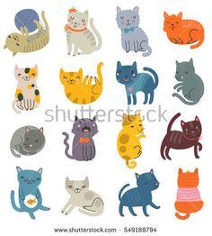 Cats. A set of vector cats. Illustration