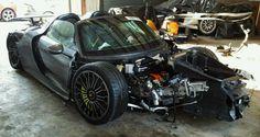 Cars - Porsche 918 Spyder : un exemplaire détruit estimé à 1,3 M€, à vendre pour pièces - http://lesvoitures.fr/porsche-918-spyder-copart-detruite/