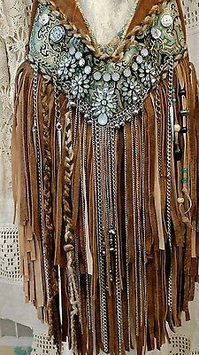 Custom for Carla Suede Fringe Shoulder Bag Hippie Gypsy Boho Brown Purse tmyers