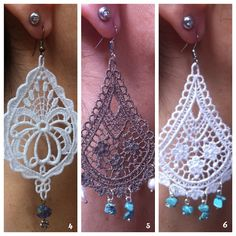 Macrame This is Extreme Macrame! Looks so much like tatting Tatting Jewelry, Lace Jewelry, Diy Jewelry, Handmade Jewelry, Jewellery, Macrame Earrings, Macrame Jewelry, Diy Earrings, Crochet Earrings