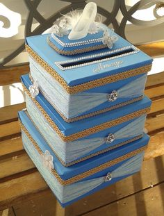 Creative Card Box Ideas for Quinceaneras (using tiffany blue color and an Eiffel tower instead) News flash! Card boxes are the latest quinceanera trend that are being placed in the reception for guests to drop. Cinderella Sweet 16, Cinderella Birthday, Cinderella Wedding, Quince Decorations, Quinceanera Decorations, Quinceanera Party, Cinderella Quinceanera Themes, Quinceanera Planning, Do It Yourself Wedding