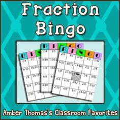 Math Fractions Games for Kids: Bingo Teaching Fractions, Math Fractions, Equivalent Fractions, Teaching Math, Adding Fractions, Teaching Ideas, Fun Math, Math Activities, Math Games