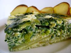Potato Crusted Swiss Chard Quiche w/Goat Cheese #food #vegetarian #recipe