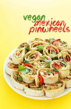 Vegan finger food recipes for your next party vegan finger foods amazing mexican pinwheels with refried beans avocado onion cilantro and tomato such a delicious vegan friendly finger food from minimalistbaker forumfinder Images