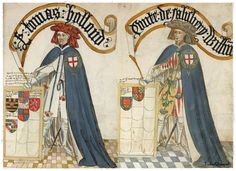 Left, Thomas Holland, Earl of Kent and right William, Earl of Salisbury; from the Bruges Garter Book, 1430/1440, BL Stowe 594. Thomas Holland, 2nd Earl of Kent is your 18th great grandfather.