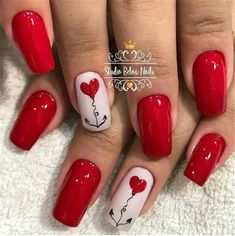 50 Cute And Lovely Heart Shape Nail Art Design For You - Page 7 of 50 - Chic Hostess Red Nail Art, Red Nails, Love Nails, Pretty Nails, Valentine's Day Nail Designs, Valentine Nail Art, Heart Nails, Rhinestone Nails, Square Nails