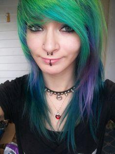Mane Attraction ~ I love her green, teal, and purple hair. Emo Scene Hair, Aqua, Multicolored Hair, Coloured Hair, Scene Girls, Cool Hair Color, Hair Colour, Emo Girls, Love Hair