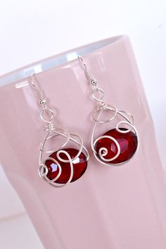 Wire Wrapped Crystal Earrings by Debbie Renee Red by DebbieRenee, $28.00