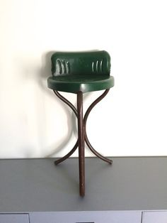 Vintage Industrial Green Metal Stool Seat Chair By TheRelicTrail