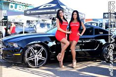Wheels and Heels Mag - 2013 DUB Anaheim Car Show Promotional Model Coverage.Monique Lagorce and Joling Ferro for Customs 411 Car Show Girls, Car Girls, Car And Girl Wallpaper, Mustang Girl, Ford Mustang, Car Poses, Pin Up, Biker, Promotional Model