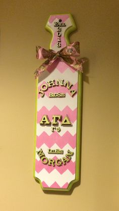 Chevron pink and green Alpha Gamma Delta (Georgia Tech chapter) sorority paddle that I made for my big, Johnna.