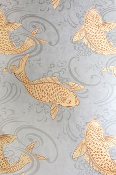 Koi Fish Discover The Pink House Bathroom Before & After The Pink House Fish Osbourne and Little Koi Carp Fish Wallpaper, Bathroom Wallpaper Fish, Osborne And Little Wallpaper, Chinese Wallpaper, Wallpaper Quotes, Wallpaper Backgrounds, Bathroom Before After, Gold Taps, Small Spaces
