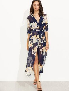 floral print dress, chiffon dress, wrap tie flower print dress - Lyfie