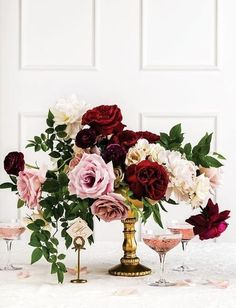 Champagne, blush and deep red wedding inspiration. http://www.theweddingguru.ca/champagne-blush-deep-red-wedding/ #blushwedding #centerpiece