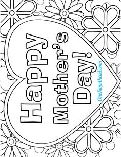 happy mothers day free coloring page printable for kids - Coloring Pages Mothers Day