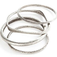 Elizabeth Cole Set of Textured Silver Bangles