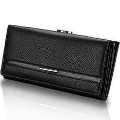 $12.23 Trendy Solid Color and PU Leather Design Women's Clutch Wallet